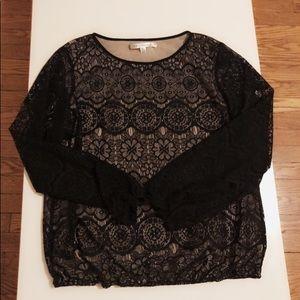 Black lace, shear long sleeve shirt